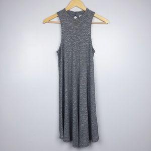 Hollister Gray Ribbed Mock Neck Swing Dress